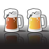 Beer mugs — Stock Vector