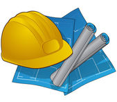 Hardhat and blue prints icon — Stock Vector