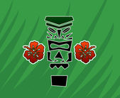 Tiki god with hibiscus — Stockvektor