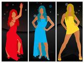 Beautiful women fashion poses — Stock Vector