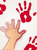Impressão de mão vermelha — Vetor de Stock