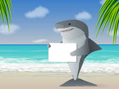Shark holding a sign at the beach — Stock Vector
