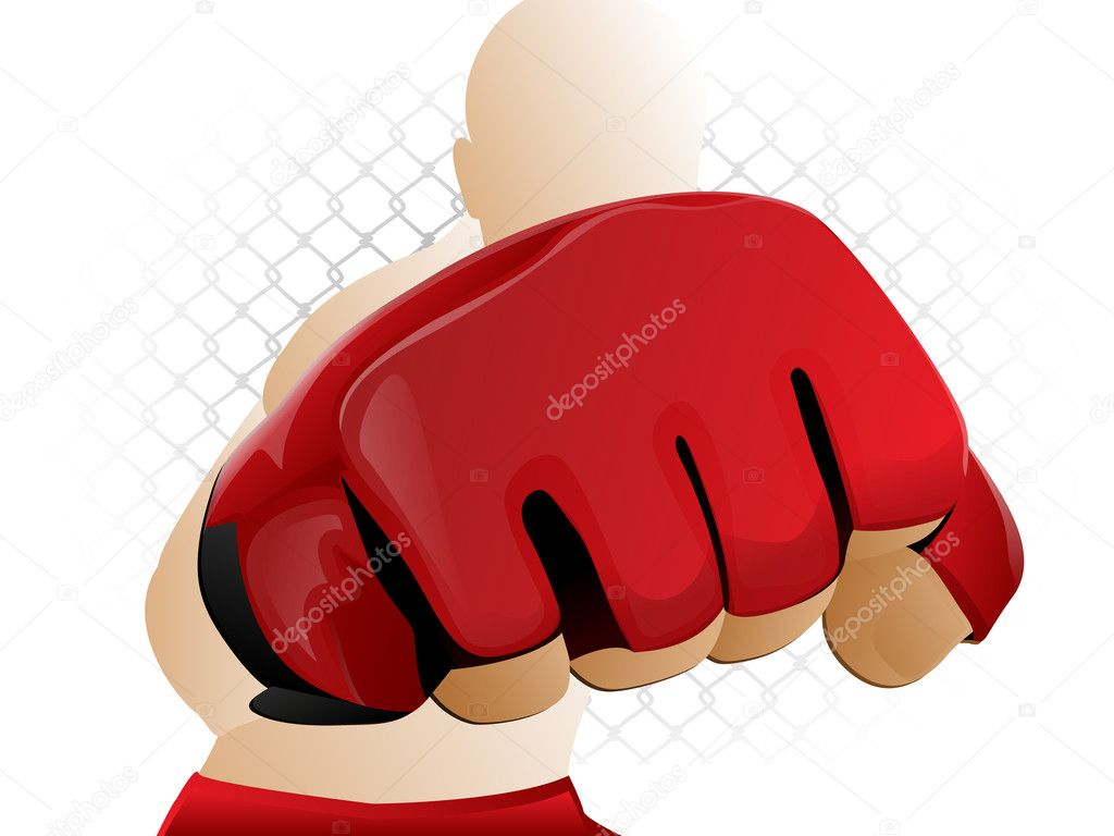 Mixed Martial Arts Fighter Punching with Padded Glove — Vektorgrafik #8845097