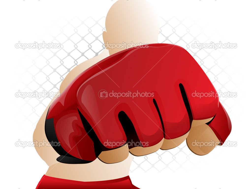Mixed Martial Arts Fighter Punching with Padded Glove  Stock Vector #8845097