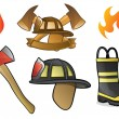 firefighter and fireman icons and symbols — Stock Vector