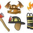 Firefighter and Fireman Icons and Symbols - Stock Vector