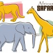 Royalty-Free Stock Vector Image: African Safari Animals Retro