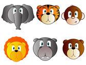 Cartoon Safari Animal Icons — Stock Vector