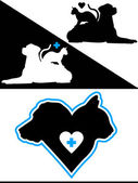 Dog and Cat Silhouette Design Elements — Stock Vector