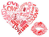 LOVE/Hearts and Kisses — Stock Vector