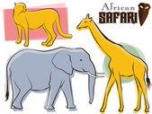 African Safari Animals Retro — Stock Vector