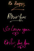 Lighted words on black background — Stock Photo