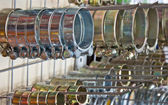 Metal hose clips. Clamp rings. — Stock Photo
