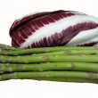 Asparagus and radicchio — Stock Photo