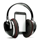 Pda with headphones — Stock Photo