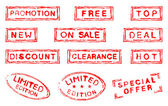 Set of twelve commercial stamps — Stock Photo