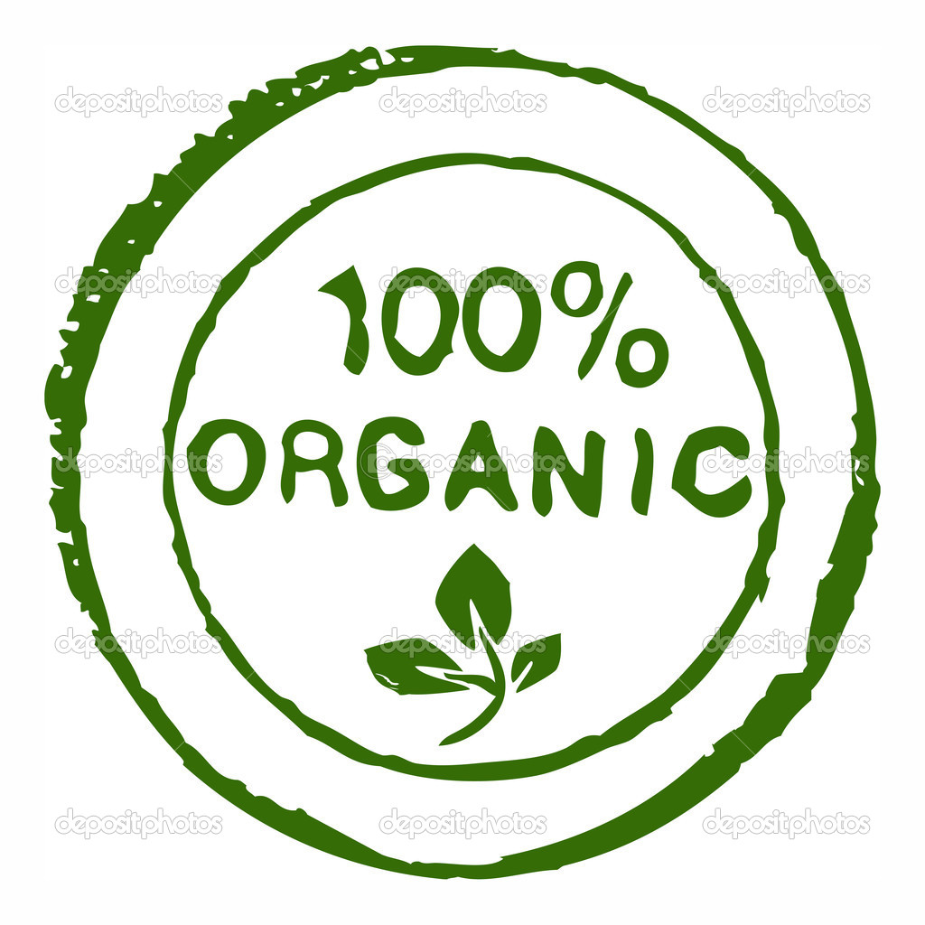 Hundred percent organic - realistic grungy ink stamp — Stock Photo #8456961