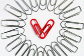 Red heart with paper clip — Stock Photo
