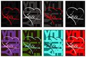 Liebe und herz - typografie-design für karten — Stockvektor