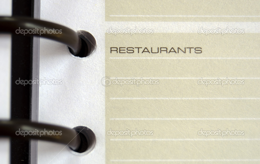 Restaurants address memo page of an agenda - copy space — Stock Photo #9227424