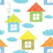 Vector seamless pattern with houses and clouds - Stock Vector