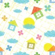 Seamless pattern with houses, clouds, flowers - Stock Vector