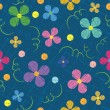 Seamless pattern with flowers, painted - Stock Vector