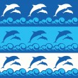 Seamless pattern with dolphins — Stock Vector