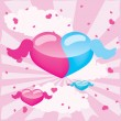 Stock Vector: Blue and pink hearts