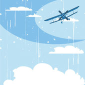 Flying airplane in the sky — Stock Vector