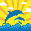 Dolphin in the sea — Vector de stock #9478126
