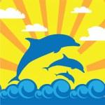 Delfín en el mar — Vector de stock