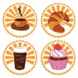 Stock Vector: Coffee and cake