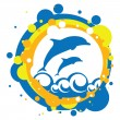 Vector illustration dolphins in the sea — Stock Vector