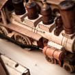 Handmade wooden toy trains — Stock Photo