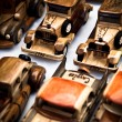 Handmade wooden toy cars — Stock Photo