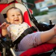 Baby in sitting stroller on nature - Stock Photo