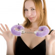 Sexy girl with pink fur handcuffs — Stock Photo #8887163
