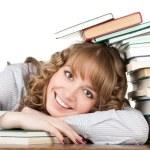 gracieuse étudiante avec des livres — Photo