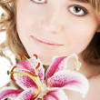 Portrait of fresh woman with flower over white - Foto de Stock