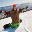 Snowboarder with snowboard portrait — Stock Photo #8888486