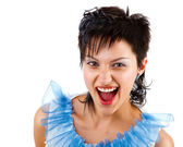 Portrait of an excited young lady isolated — Stock Photo