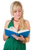 Young pretty girl with book on the white — Stockfoto