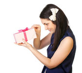 Portrait of a young woman with gifts isolated — Stock Photo