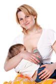 Little baby breast feeding — Stock Photo