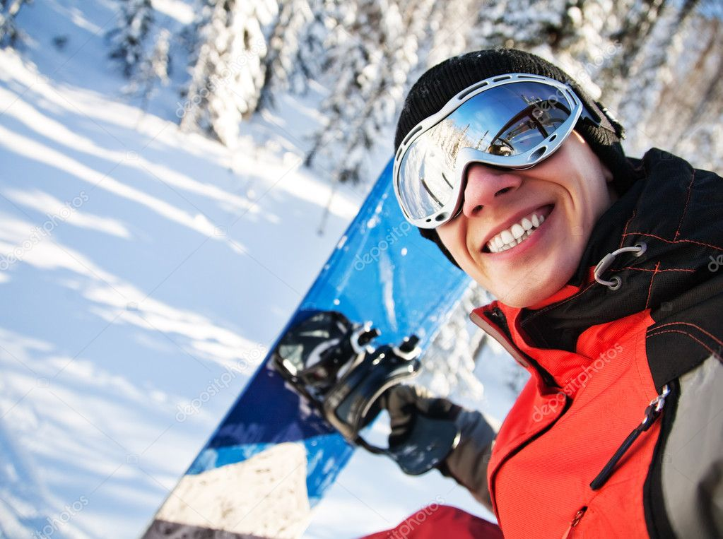 A health lifestyle image of young snowboarder — Stock Photo #8912482