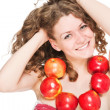 Bright picture of lovely girl with red apples isolated — Stock Photo