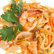 Noodles with noodles, Shrimp with noodles isolated — Stock Photo