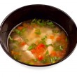 Vegetable soup with chicken isolated — Stock Photo