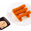 Delicious mozzarella fried sticks with cheese sauce isolated — Stock Photo